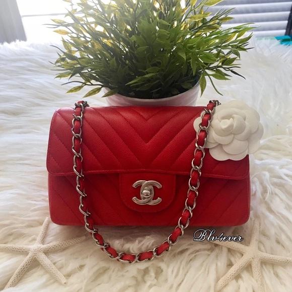 3c60b553 Chanel mini chevron red caviar